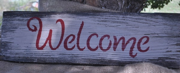 reclaimed barnwood rustic welcome sign barn wood