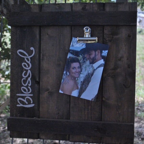 wood slat photo frame