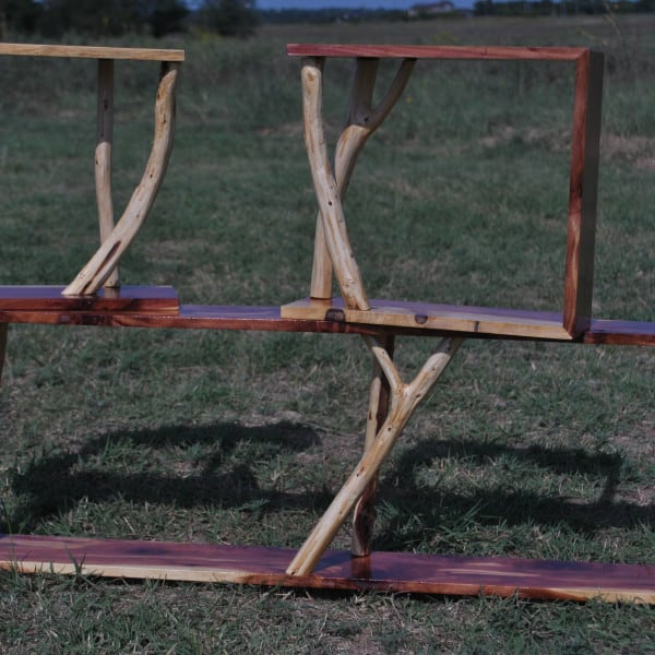 modern rustic, cedar shelf set