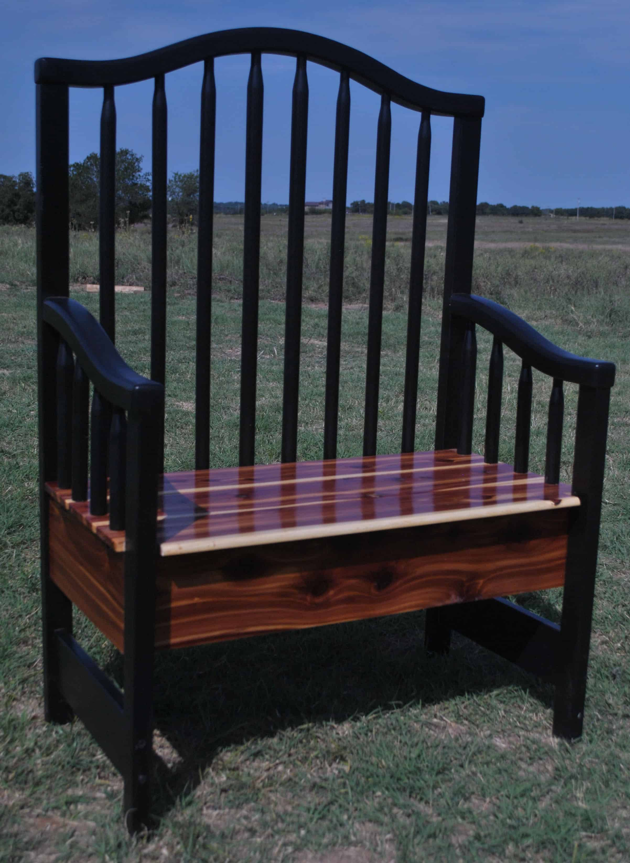 Crib repurpose, cedar bench