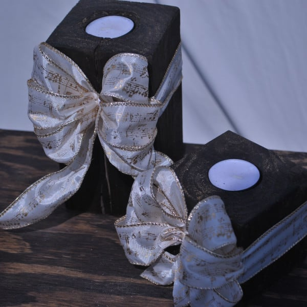 rustic tea light candleholder set
