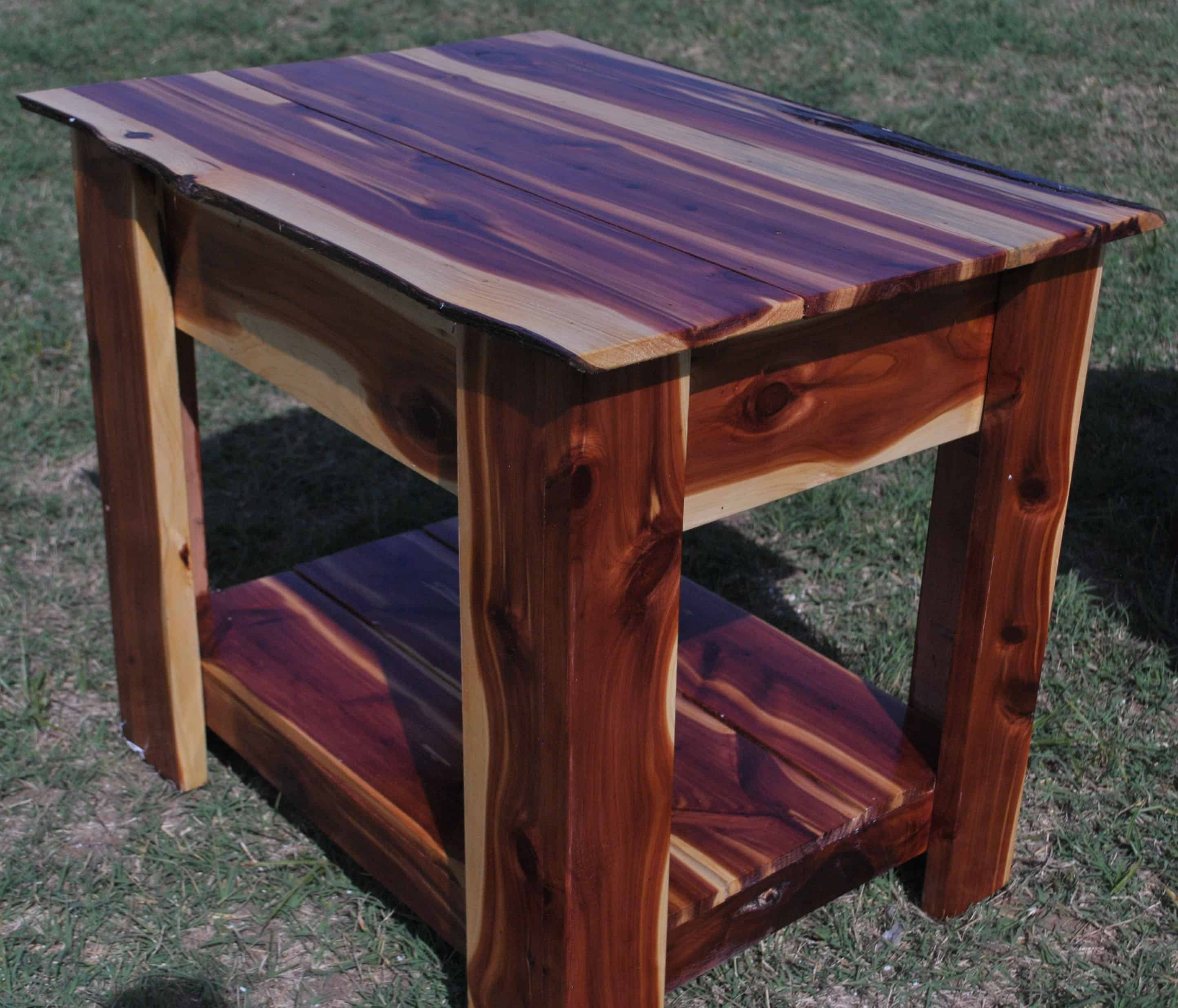 Red Cedar End Table With Hidden Gun Storage Two Oaks