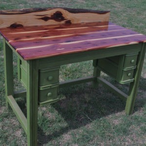 antique sewing machine cedar desk repurpose