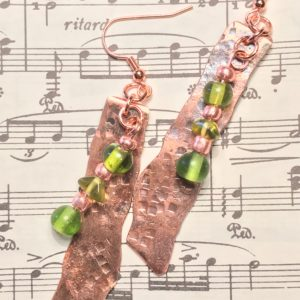 handmade, hammered copper earrings, green
