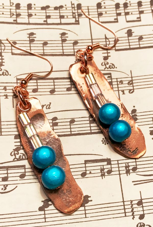 new products, handmade, hand forged, hammered copper, earrings