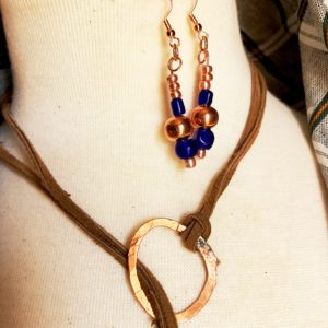 Copper Blue Leather Lariat Necklace Earrings Set