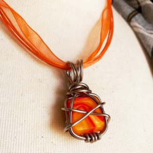 Wire Wrapped Kirinite Pendant Necklace