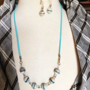 turquoise suede necklace earring set