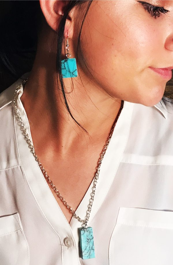 Marbled Turquoise Resin Silver Earrings, Square